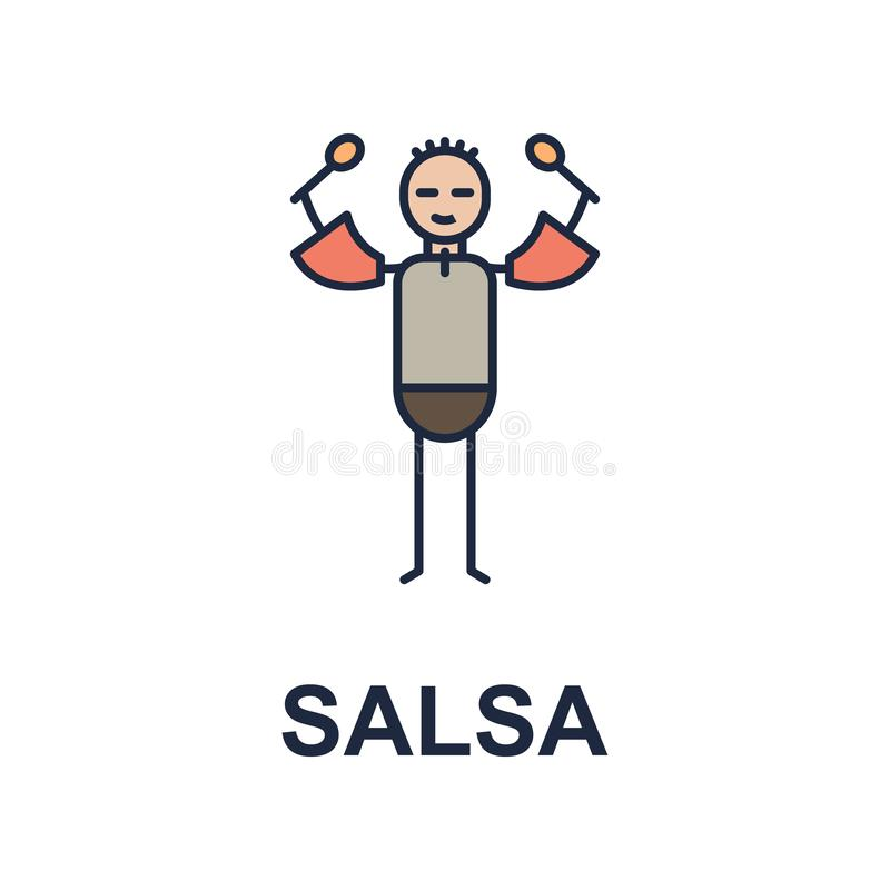 icône de musicien de Salsa Élément d'icône de style de musique pour les apps mobiles de concept et de Web L'icône colorée de styl illustration de vecteur