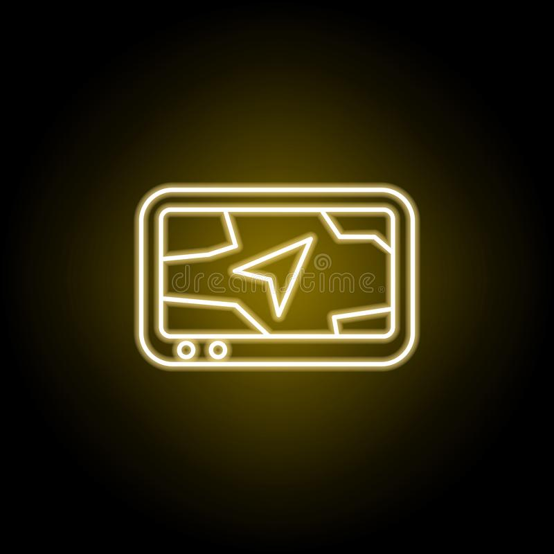 ic?ne de navigation dans le style au n?on Des signes et les symboles peuvent ?tre employ?s pour le Web, logo, l'appli mobile, UI, illustration stock