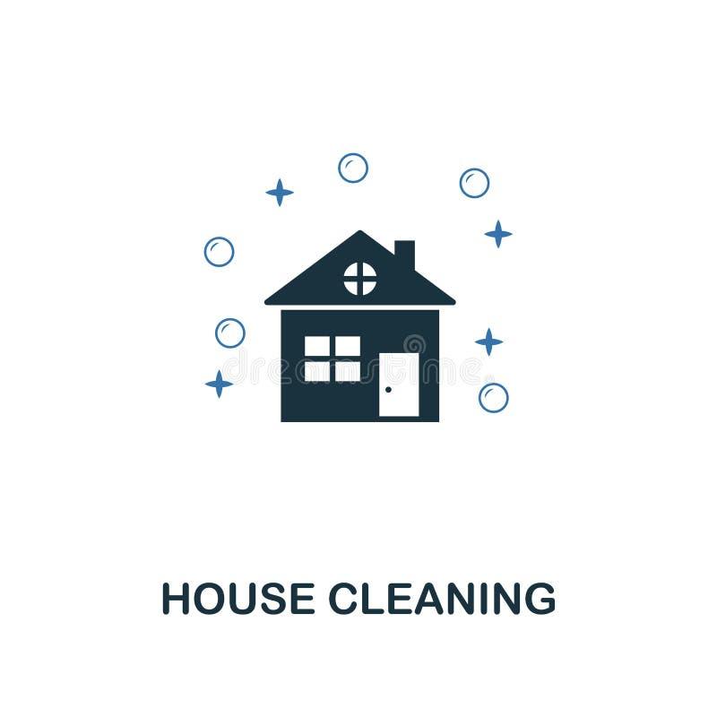 Icône de nettoyage de Chambre Les deux couleurs créatives conçoivent de la collection de nettoyage d'icônes Utilisation d'UI et d illustration stock
