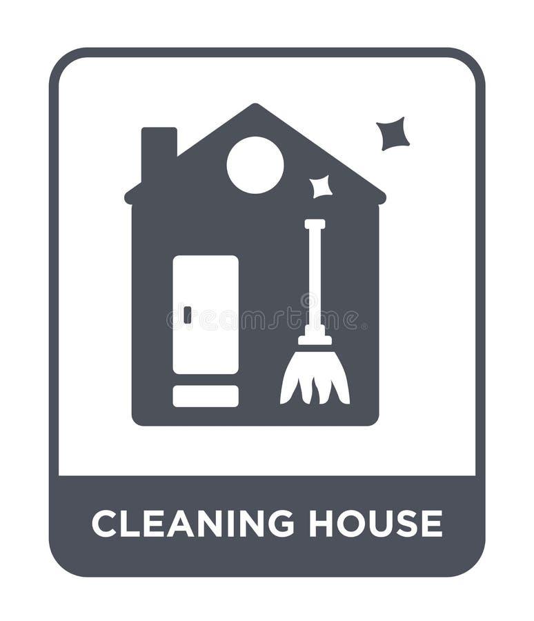 icône de nettoyage de maison dans le style à la mode de conception icône de nettoyage de maison d'isolement sur le fond blanc icô illustration stock