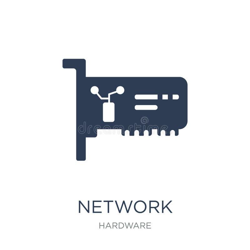 Icône de network interface card Réseau plat à la mode Interfac de vecteur illustration stock