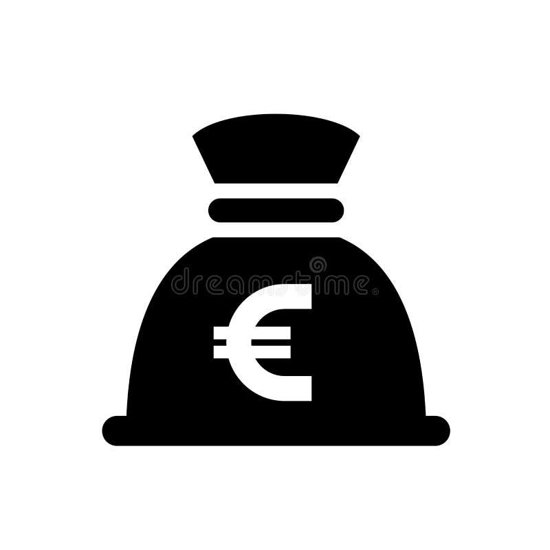 Icône de noir de sac d'argent illustration libre de droits