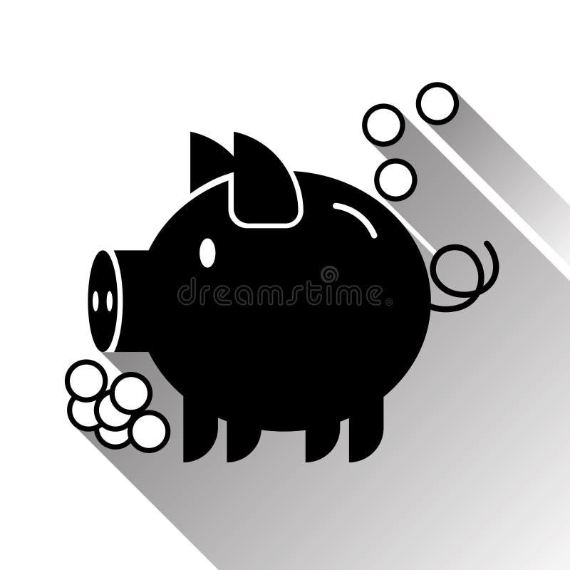 Icône de noir de silhouette de tirelire de tirelire illustration stock