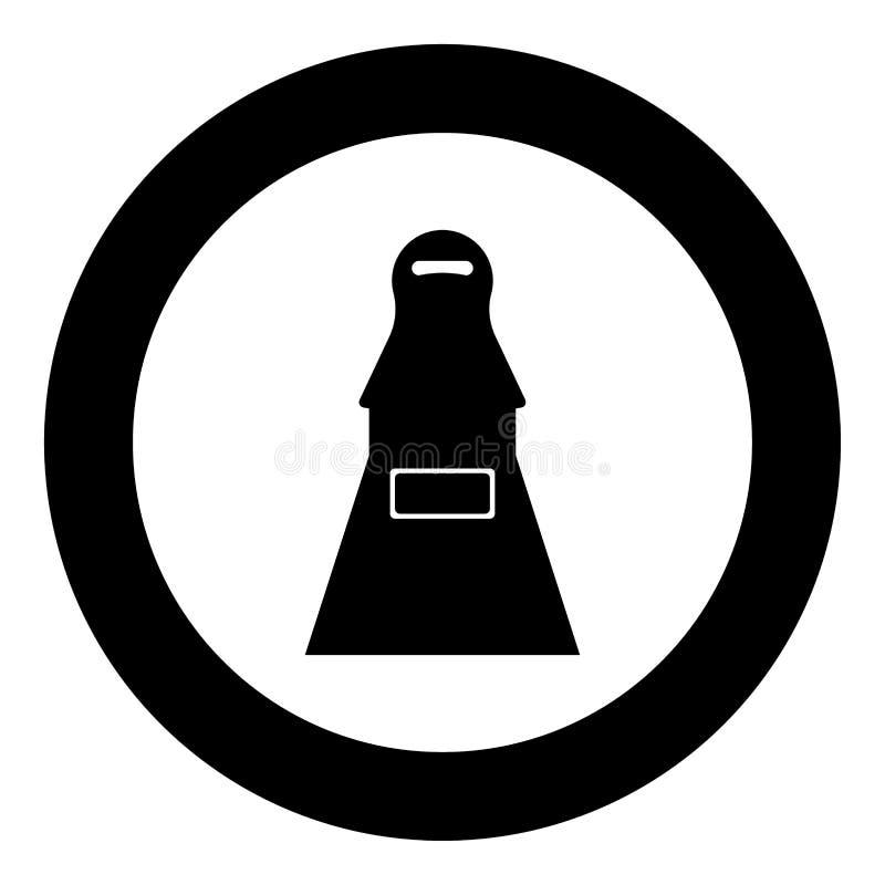 Icône de noir de terroriste de femme en cercle illustration stock