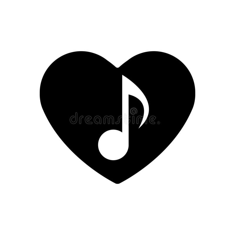Icône de note musicale au coeur noir Symbole parfait d'amour Signe de jour de valentines d'isolement Style plat pour le graphique illustration libre de droits