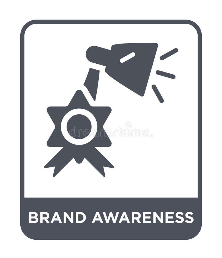 icône de notoriété de la marque dans le style à la mode de conception icône de notoriété de la marque d'isolement sur le fond bla illustration libre de droits