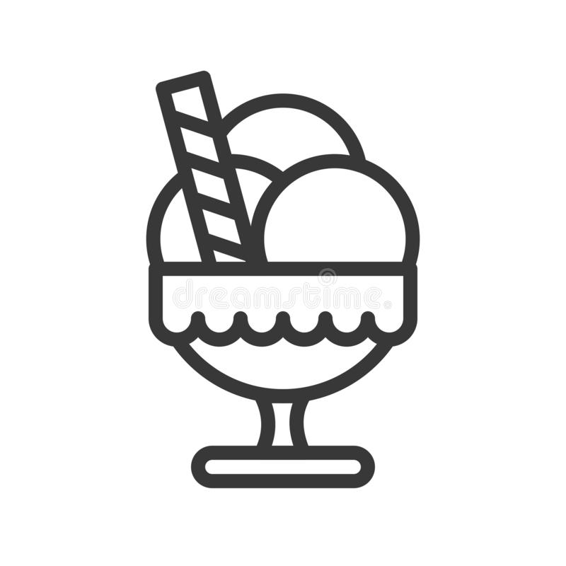 Icône de nourriture de Noël de tasse et de sucrerie de crème glacée  Ligne Editable illustration libre de droits