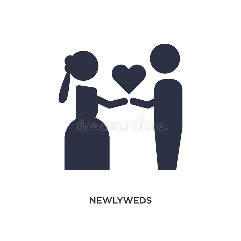 icône de nouveaux mariés sur le fond blanc Illustration simple d'élément de fête d'anniversaire et de concept de épouser illustration de vecteur
