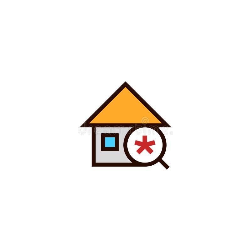 Icône de nouvelle maison de recherche maison avec le symbole de loupe et d'astérisque conception mince propre simple de style d'e illustration libre de droits