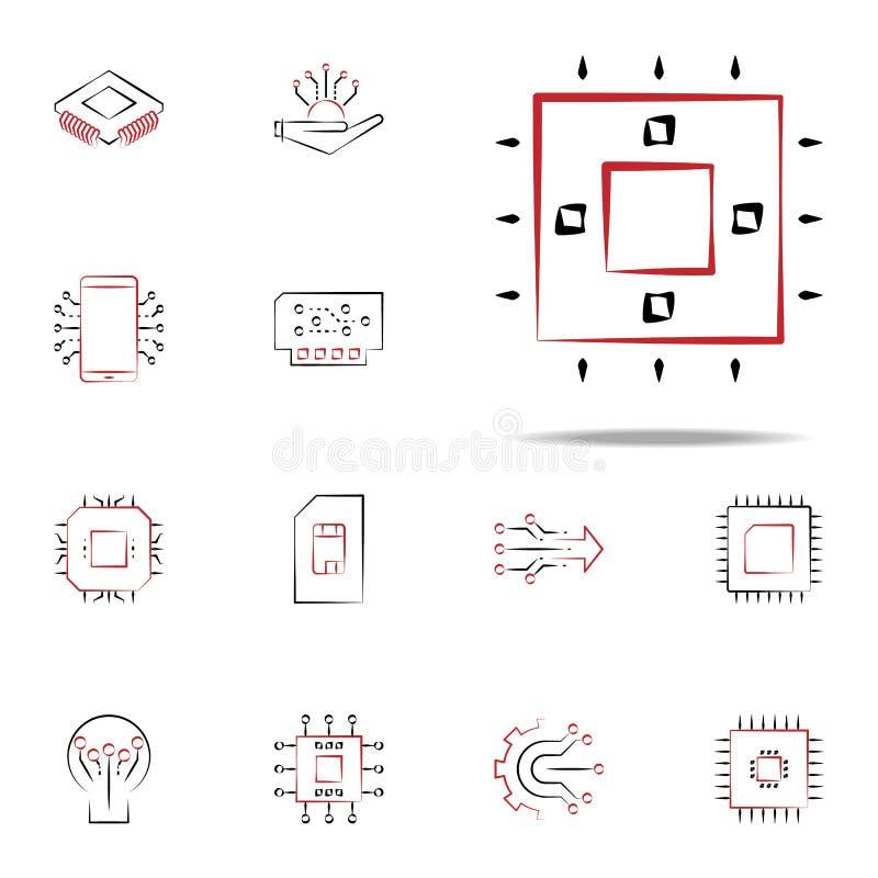 icône de noyau Ensemble universel d'icônes de l'électronique pour le Web et le mobile illustration stock