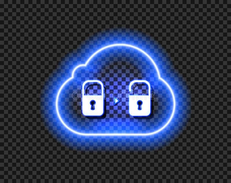 Icône de nuage de données de vecteur, signe débloqué au néon rougeoyant sur le fond transparent foncé illustration de vecteur