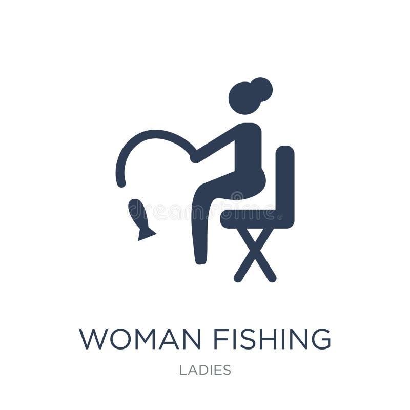 Icône de pêche de femme Femme plate à la mode de vecteur pêchant l'icône sur le whi illustration stock