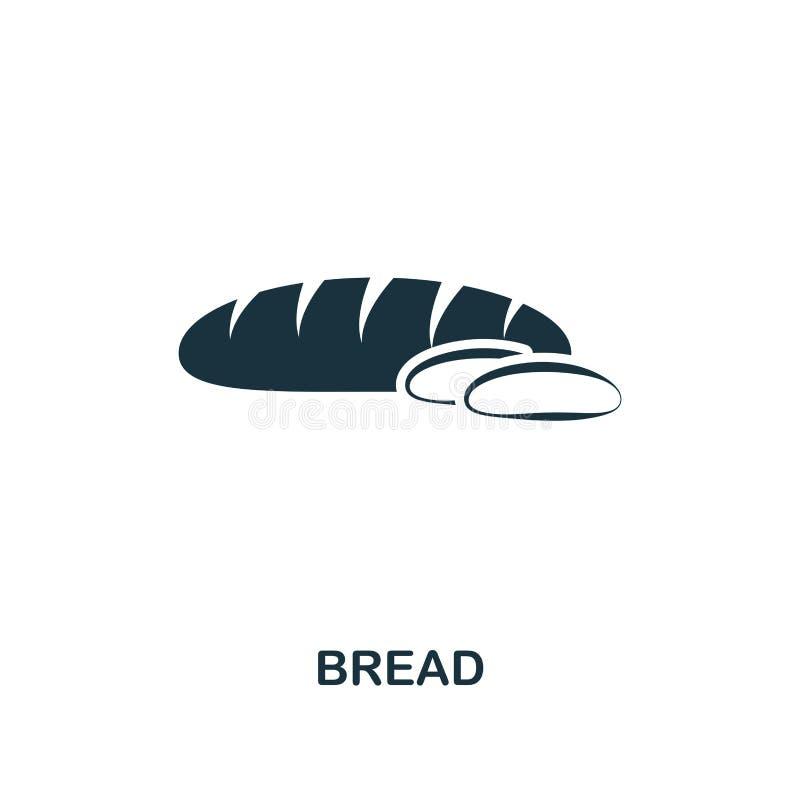 Icône de pain Conception monochrome d'icône de style de collection d'icône de repas Ui E pictogramme d'isolement sur le blanc r illustration de vecteur