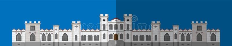 Icône de palais Image plate, bâtiment avant illustration stock