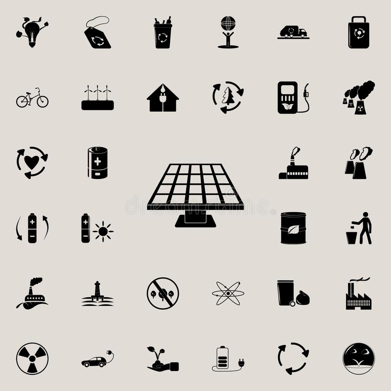 Icône de panneaux solaires Ensemble détaillé d'icônes d'écologie Signe de la meilleure qualité de conception graphique de qualité illustration libre de droits