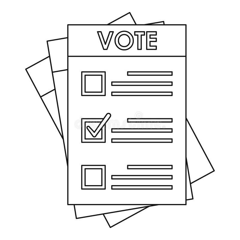 Icône de papier d'élection, style d'ensemble illustration libre de droits