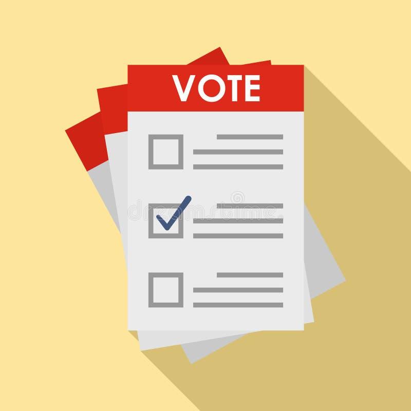 Icône de papier d'élection, style plat illustration de vecteur