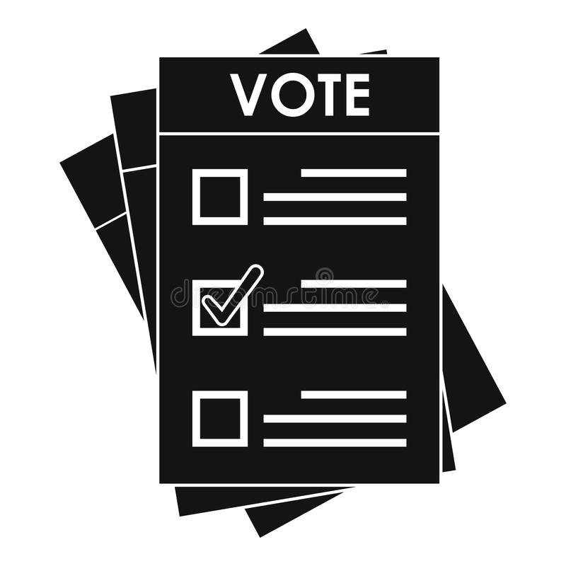 Icône de papier d'élection, style simple illustration stock