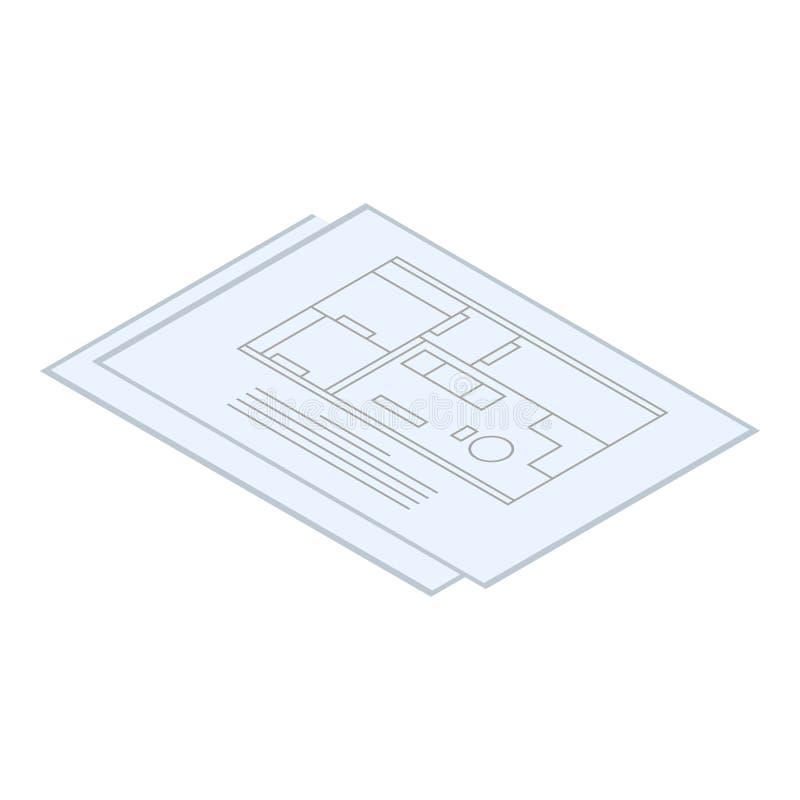 Icône de papier de plan d'architecte, style isométrique illustration de vecteur