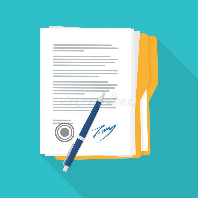 Icône de papier signée de contrat d'affaire illustration de vecteur