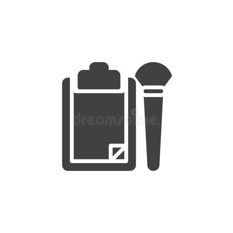Icône de papier de vecteur de presse-papiers et de brosse illustration stock