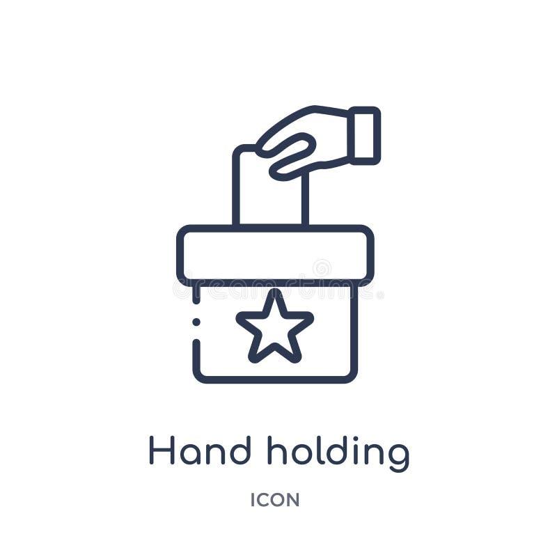 icône de papier de vote de participation de main de la collection politique d'ensemble Ligne mince icône de papier de vote de par illustration stock