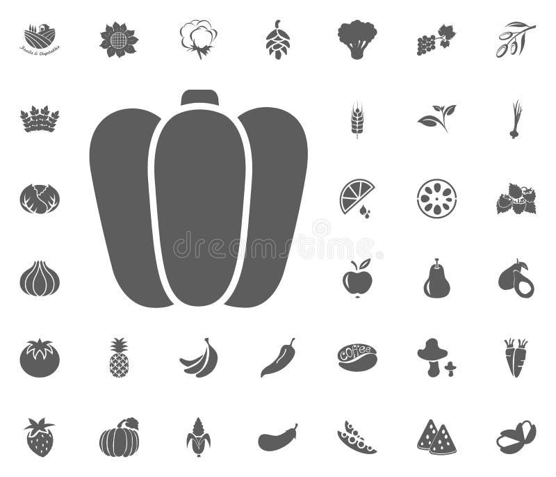 Icône de paprika Ensemble d'icône d'illustration de vecteur de fruits et légumes symboles de nourriture et de plante illustration de vecteur