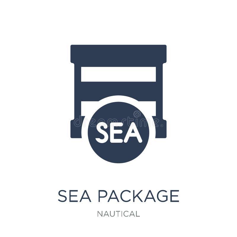 icône de paquet de mer Icône plate à la mode de paquet de mer de vecteur sur b blanc illustration libre de droits