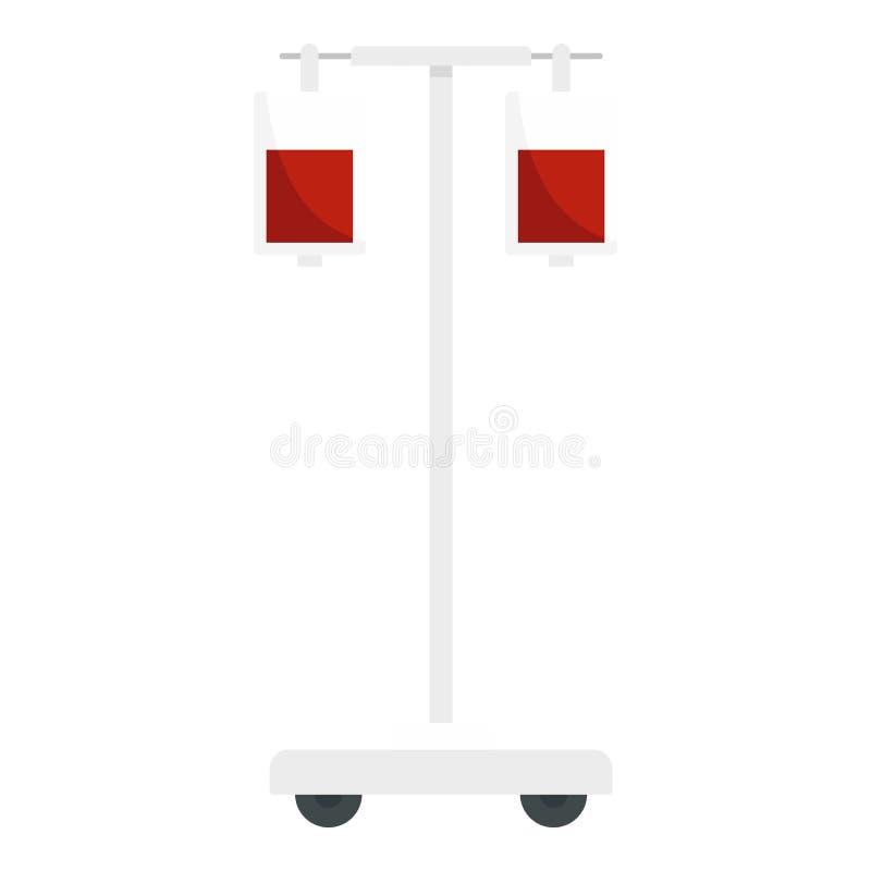 Icône de paquet de sang de chirurgie, style plat illustration de vecteur