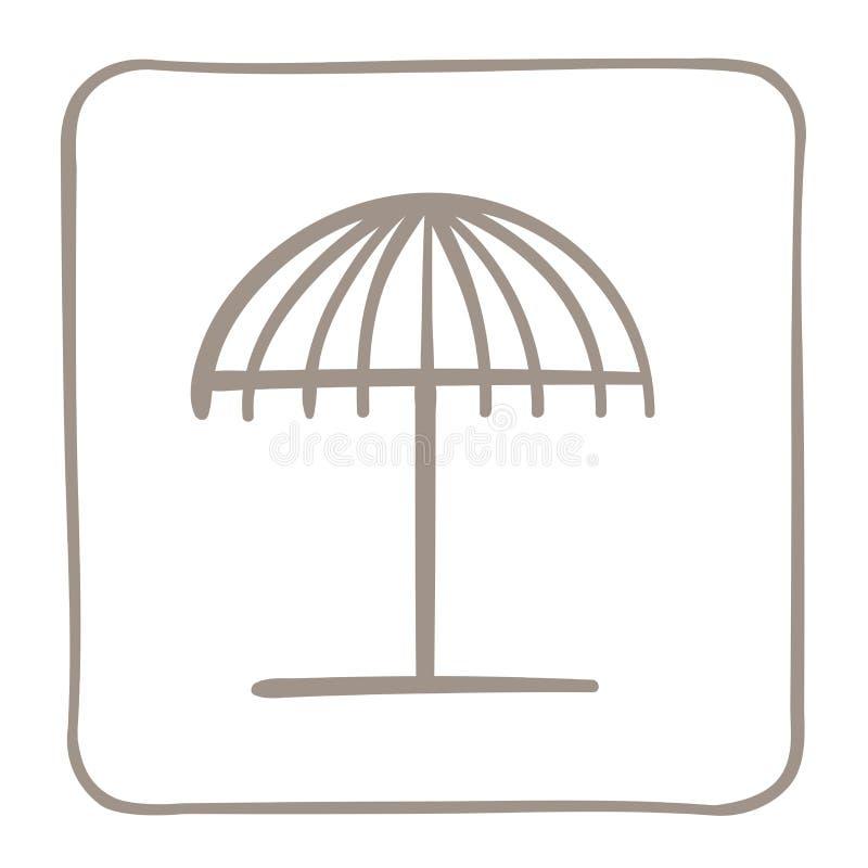 Ic?ne de parapluie de plage dans un cadre brun clair Dessins de vecteur photo stock