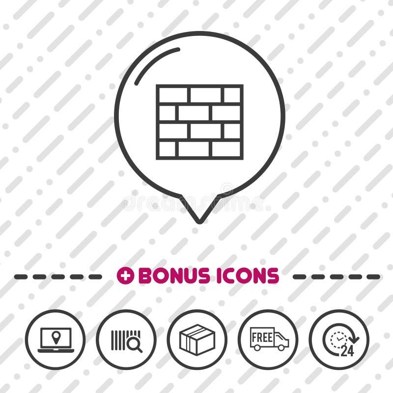 Icône de pare-feu Symbole en ligne de sécurité illustration de vecteur