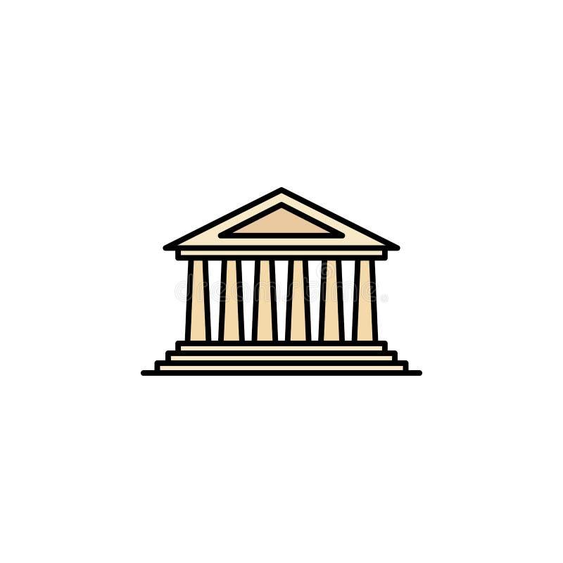 Icône de parthenon Élément d'icône de Grèce antique de couleur pour des applis mobiles de concept et de Web L'icône colorée de pa illustration libre de droits