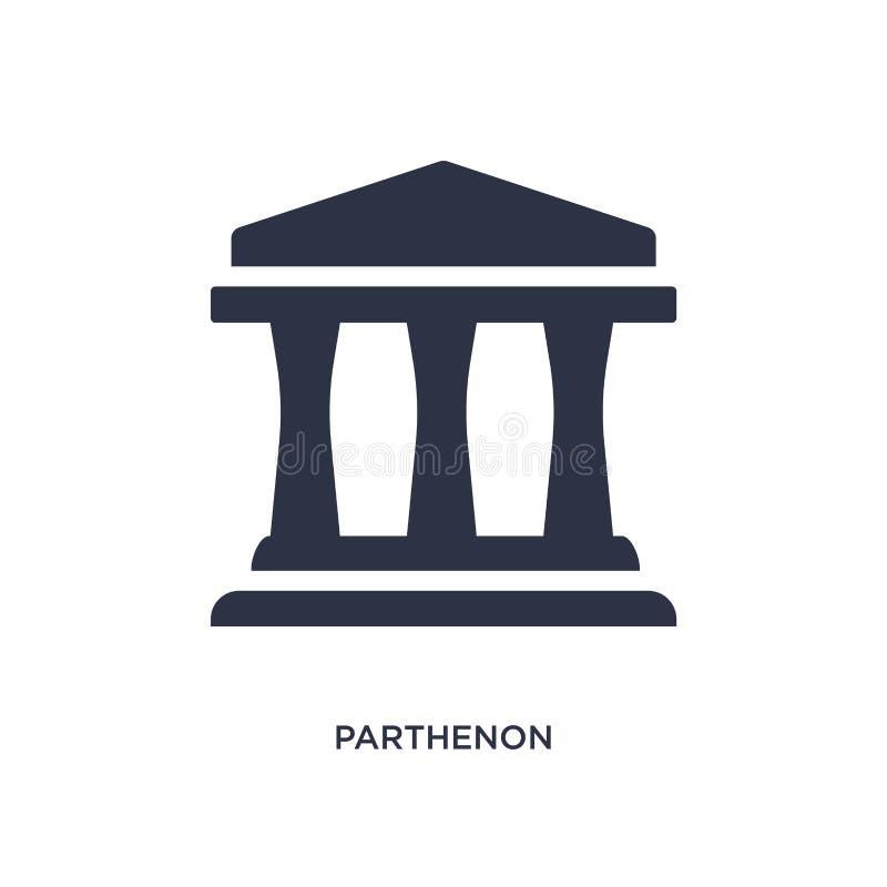 icône de parthenon sur le fond blanc Illustration simple d'élément de concept de la Grèce illustration stock