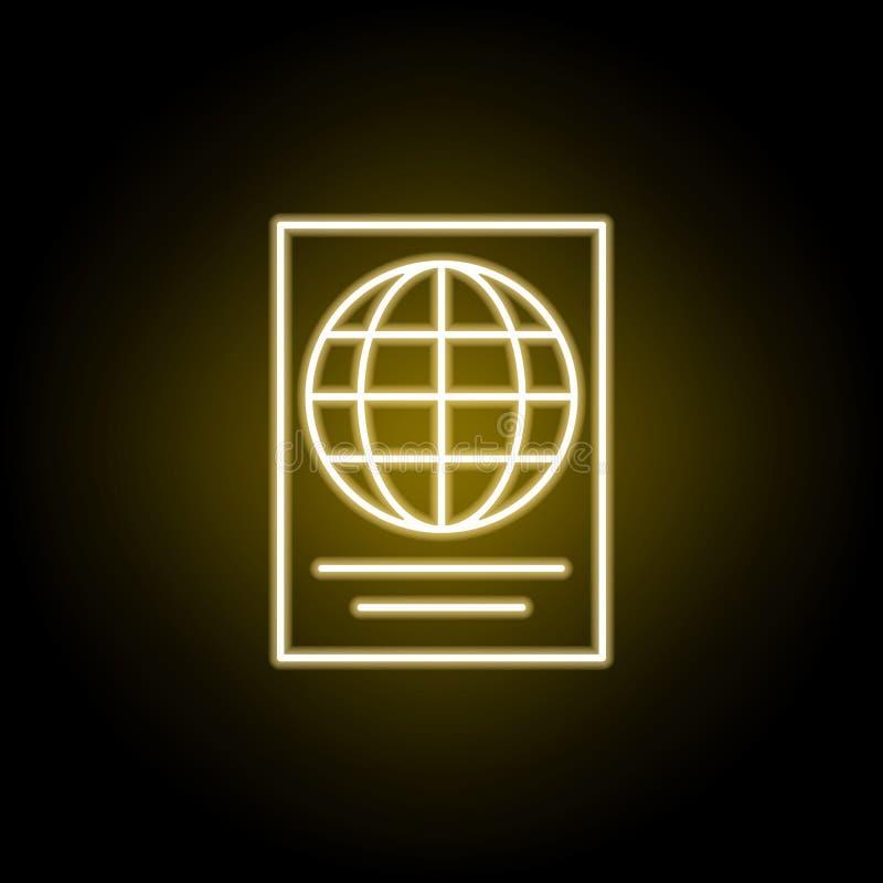ic?ne de passeport dans le style au n?on ?l?ment d'illustration de voyage Des signes et les symboles peuvent ?tre employ?s pour l illustration de vecteur