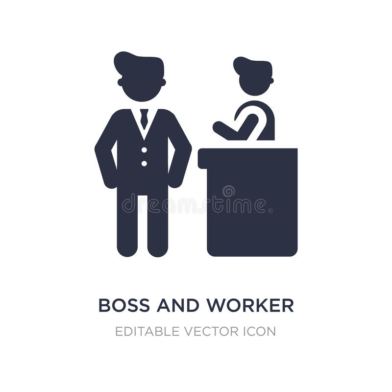 icône de patron et de travailleur sur le fond blanc Illustration simple d'élément de concept de personnes illustration stock