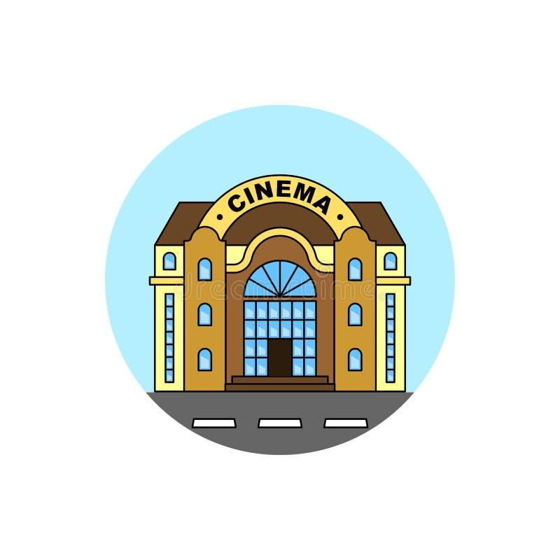 Icône de paysage urbain de bâtiment de cinéma illustration de vecteur