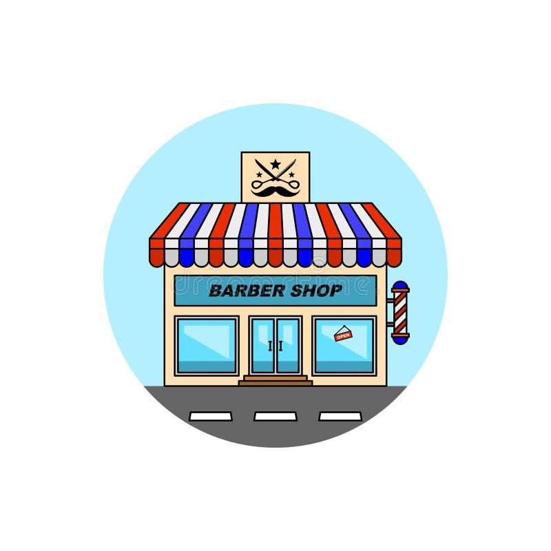 Icône de paysage urbain de bâtiment de salon de coiffure illustration libre de droits
