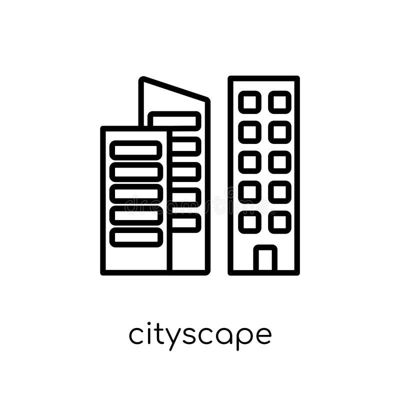 Icône de paysage urbain Icône linéaire plate moderne à la mode de paysage urbain de vecteur illustration libre de droits