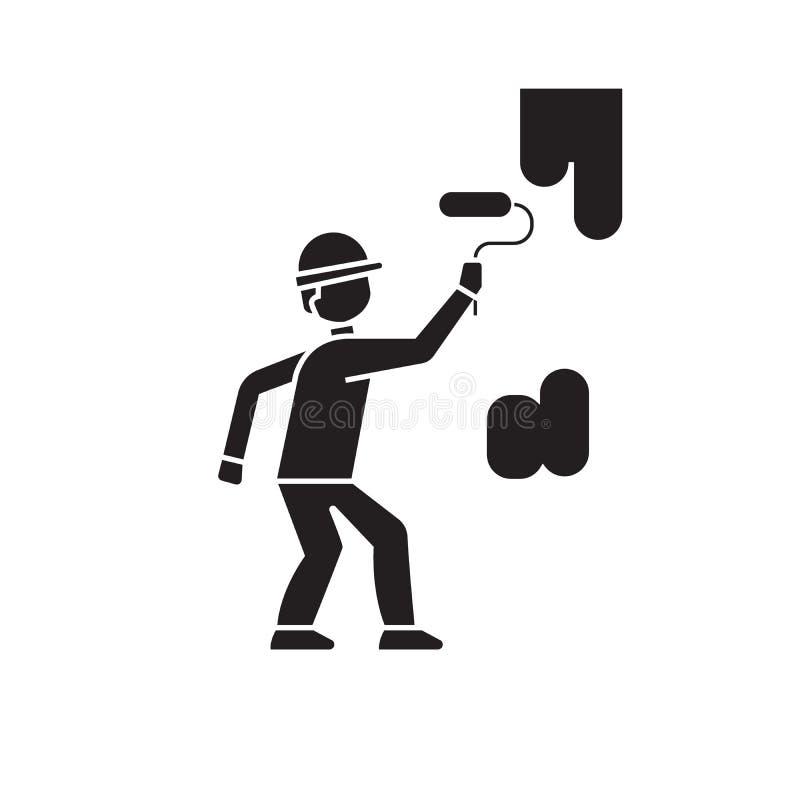 Icône de peinture de concept de vecteur de noir de mur Illustration plate de peinture de mur, signe illustration de vecteur