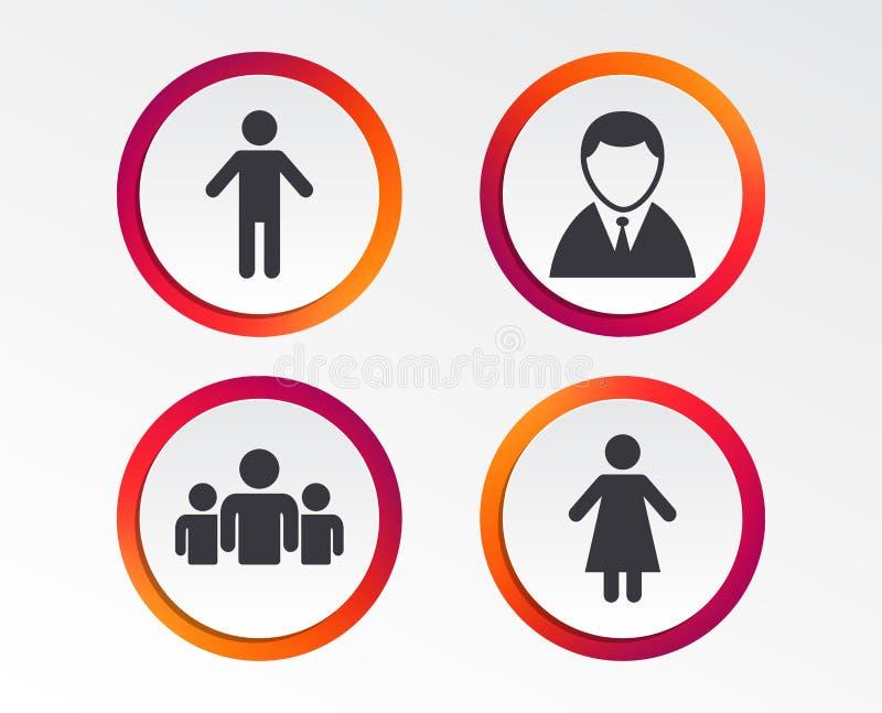Icône de personne d'homme d'affaires Groupe de personnes le symbole illustration libre de droits