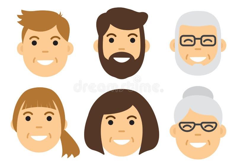 Icône de personnes Visages mâles et femelles Vecteur illustration stock