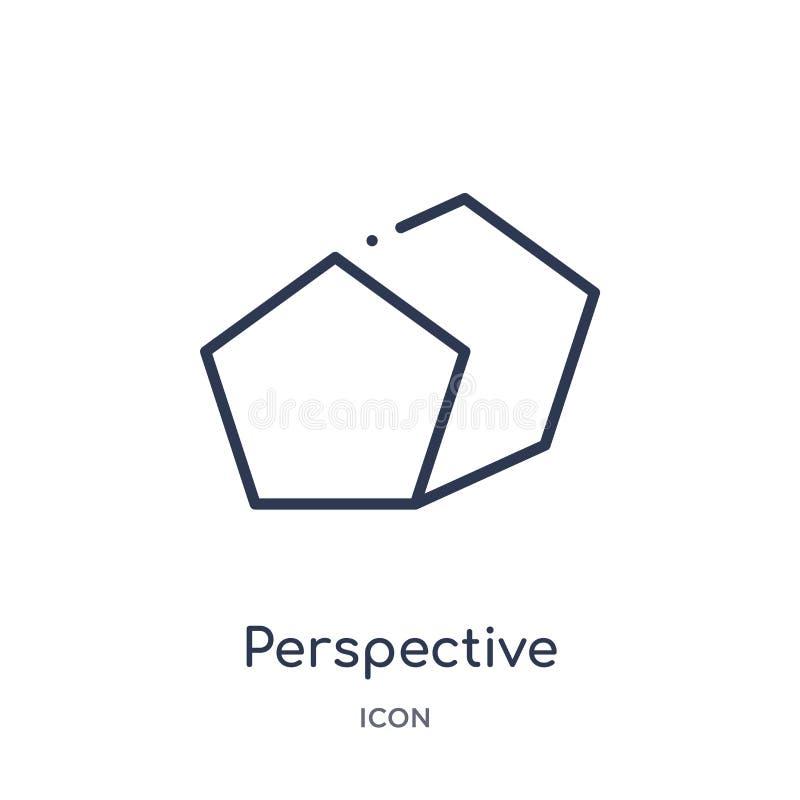 Icône de perspective linéaire de la collection géométrique d'ensemble de figure Ligne mince icône de perspective d'isolement sur  illustration de vecteur