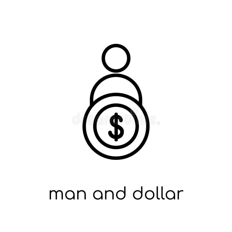 Icône de pièce de monnaie d'homme et de dollar de collection de productivité illustration de vecteur