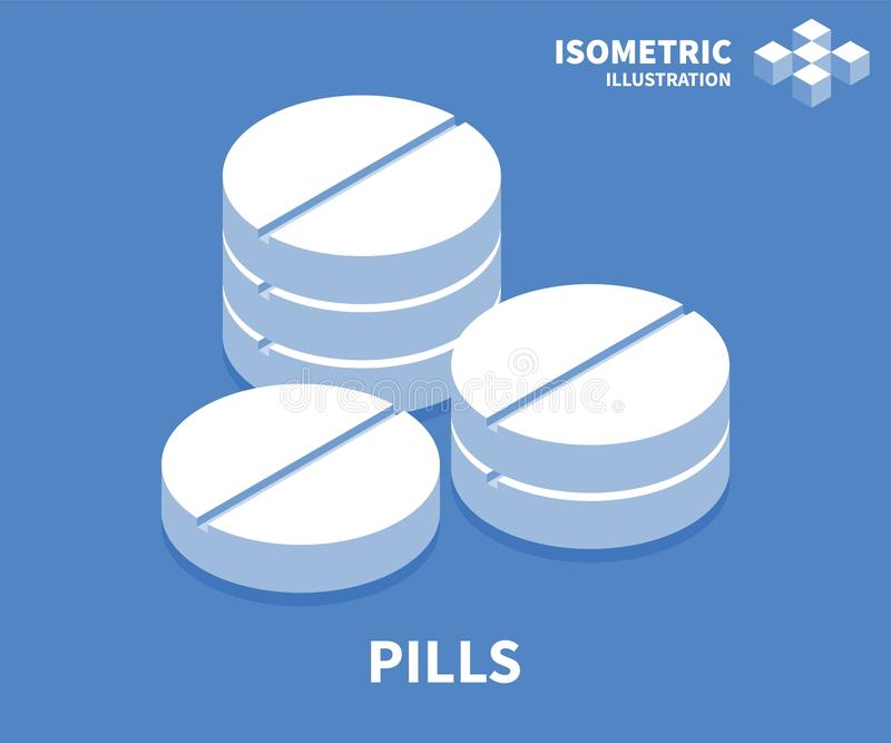 Icône de pilules Calibre isométrique pour le web design dans le style 3D plat Illustration de vecteur illustration libre de droits