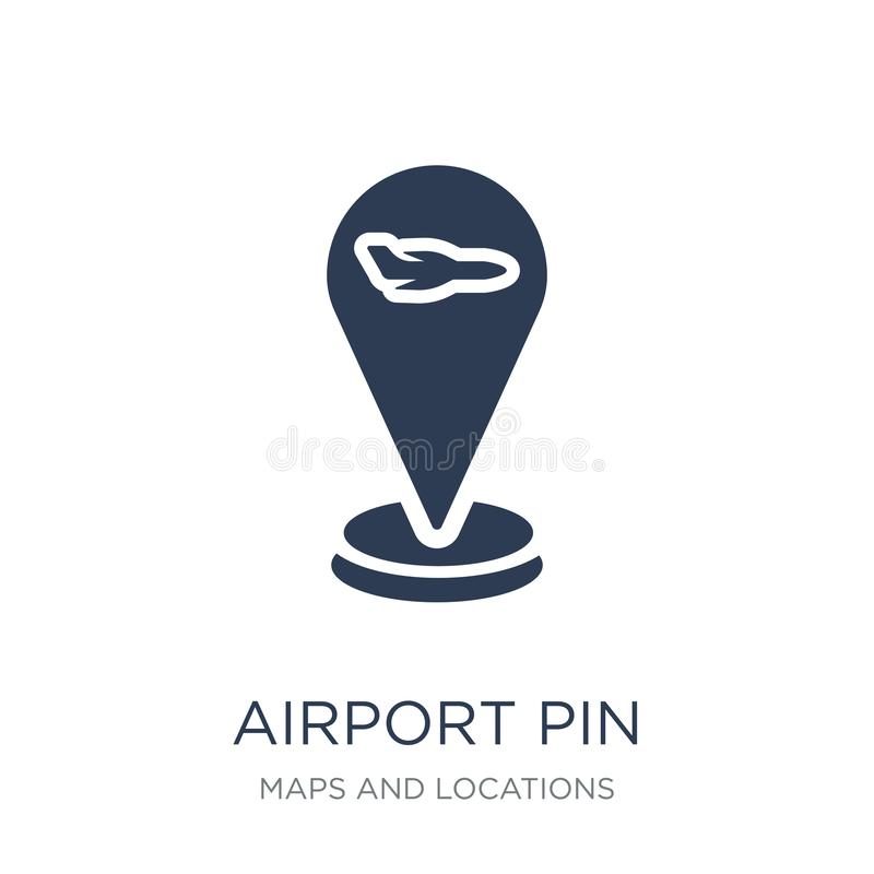 Icône de Pin d'aéroport Icône plate à la mode de Pin d'aéroport de vecteur sur b blanc illustration de vecteur