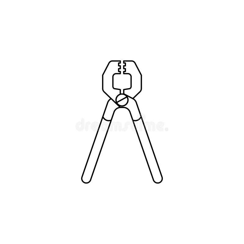 Icône de pinces Élément des outils de construction pour les apps mobiles de concept et de Web Ligne mince icône pour la conceptio illustration de vecteur