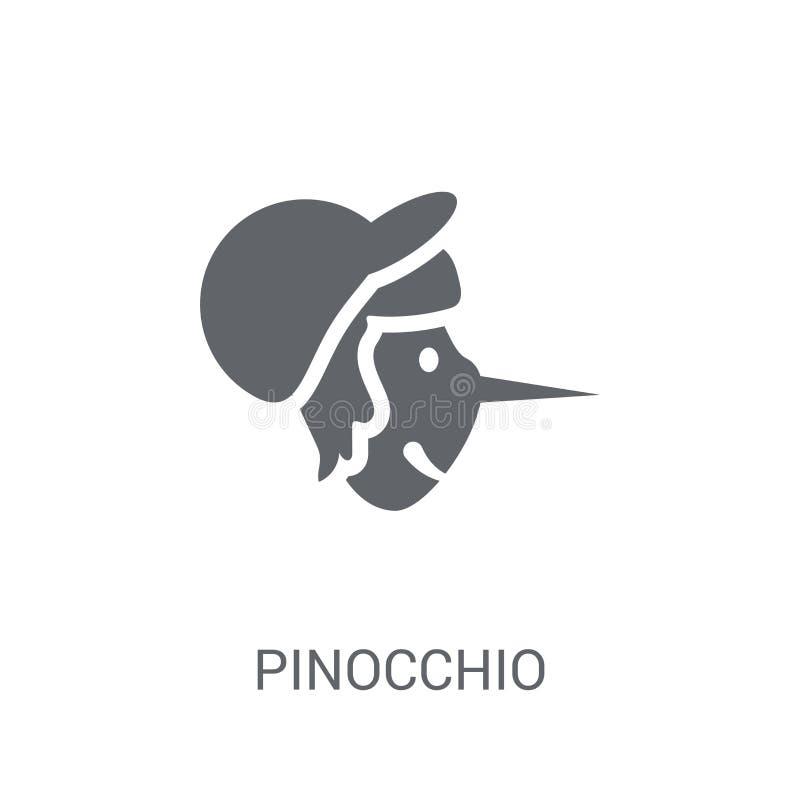Icône de Pinocchio Concept à la mode de logo de Pinocchio sur le backgroun blanc illustration libre de droits