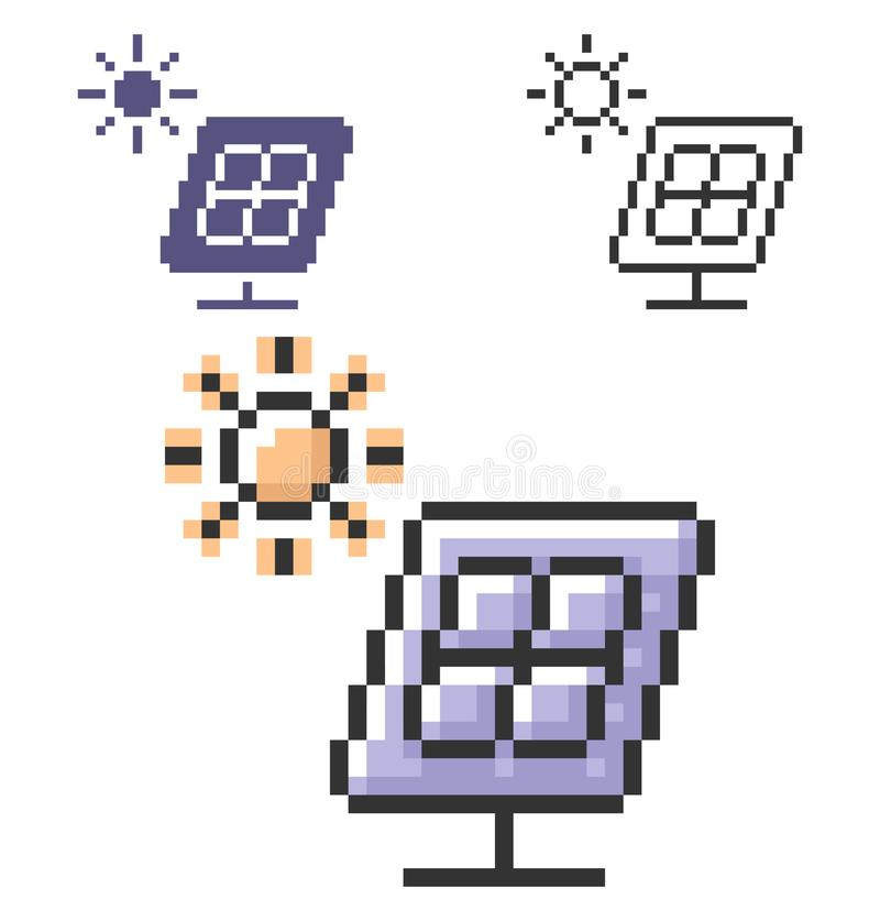 Icône de pixel de batterie solaire dans trois variantes illustration stock