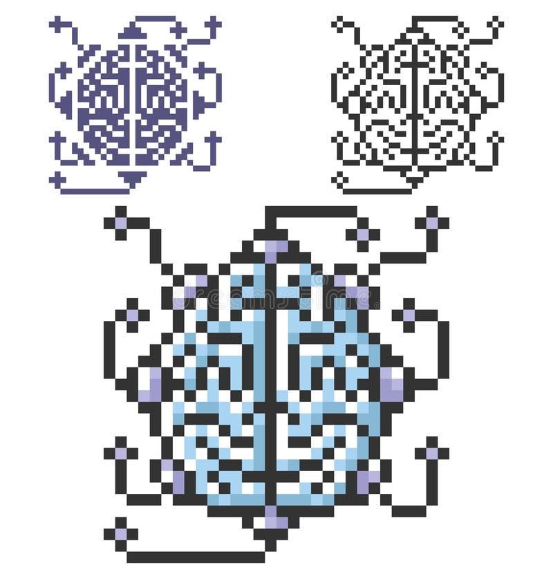 Icône de pixel de cerveau en tant qu'unité centrale de traitement dans trois variantes illustration stock