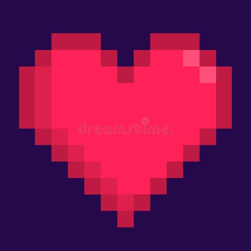 Icône de pixel de coeur illustration stock